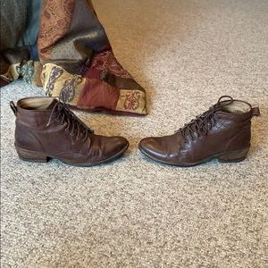 Frye brown lace up granny bootie boots size 7.5